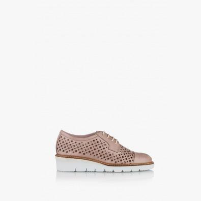 Дамски ежедневни обувки с перфорация цвят пудра Санта