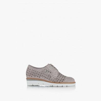 Сиви велурени дамски обувки с перфорация Санта