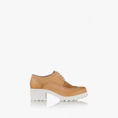 Дамски обувки с връзки Джули цвят крема
