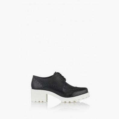 Черни дамски обувки с връзки Джули