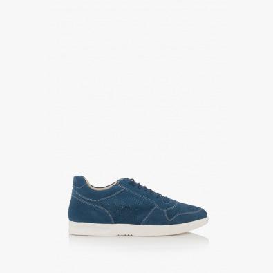 Сини велурени мъжки обувки с връзки Джинико