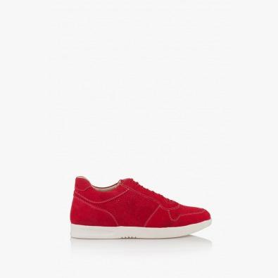 Червени мъжки  велурени обувки с връзки Гинико