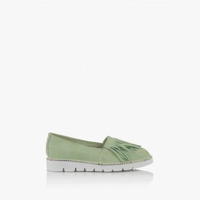 Зелени дамски обувки с ресни Джери
