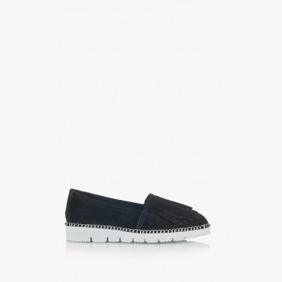 Дамски велурени обувки в черно с ресни Джери