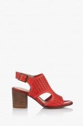 Дамски кожени сандали в червено Ейприл