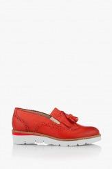 Червени дамски обувки Аглая с пискюл