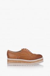 Дамски кожени обувки в карамел Дани