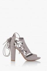 Сиви дамски сандали с връзки Кики
