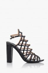 Черни дамски сандали Клое на висок ток