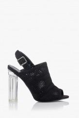 Черни дамски сандали с висок ток Катлин