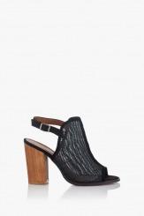 Дамски сандали на ток Марсела в черно