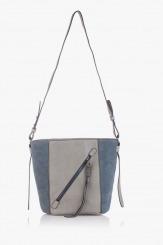 Дамска чанта в синьо и сиво Стейси