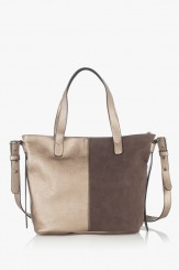 Дамска чанта в златисто и кафяво Анис
