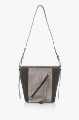 Ежедневна дамска чанта в сиво и черно Стейси