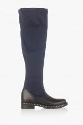 Сини дамски ботуши стреч-чизми Бранди