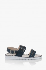 Сини дамски кожени сандали Ева