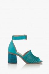 Дамски сандали на ток Сторми в син цвят