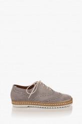 Велурени дамски обувки с връзки Анабел