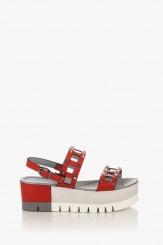 Дамски кожени сандали на платформа Клеър