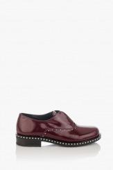 Дамски обувки цвят бордо естествен лак Барбара