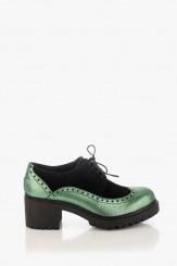 Велурени дамски обувки с връзки черно и зелено Тереса