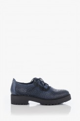 Сини дамски кожени обувки с връзки Дороти