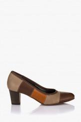 Кожена дамска обувка Пеги карамел