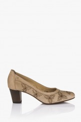 Кожена дамска обувка Пеги сив