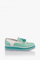 Ежедневени дамски обувки на платформа в зелено Бианко