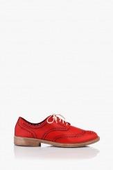 Червени дамски кожени обувки Мина с перфорация