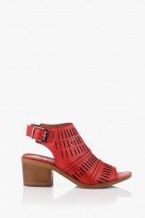 Дамски сандали с перфорация Бенигна в червено