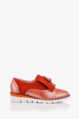 Ежедневени дамски обувки с аксесоар в червено Агнеса