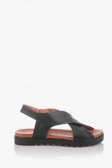 Черни дамски кожени сандали Джийни