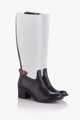 Зимни дамски ботуши в бяло и черно