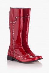 Дамски зимни ботуши от червен лак с капси