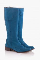 Велурени дамски ботуши в синьо