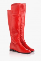 Червени дамски кожени ботуши