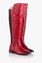 Кожени дамски ботуши - чизма в червен цвят