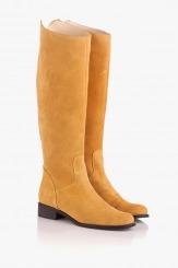 Дамски велурени ботуши в жълт цвят