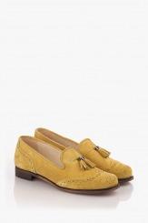 Жълти велурени дамски обувки