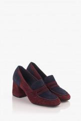 Велурени дамски обувки на ток
