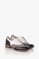 Дамски обувки с връзки син лак