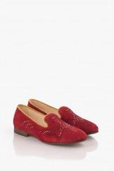 Велурени дамски обувки в червено