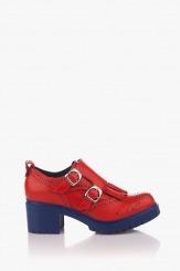 Кожени дамски обувки в червено Бриана