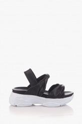 Черни дамски кожени сандали  Джуси