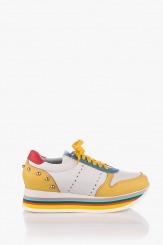 Кожени дамски обувки в жълто Пейтън