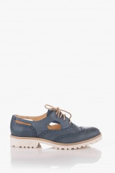Кожени дамски обувки в синьо Емма