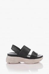 Кожени дамски сандали в черно Дона