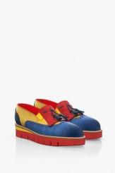 Велурени дамски цветни обувки