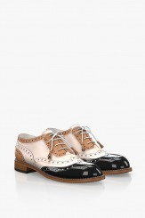 Кожени дамски обувки в цветова комбинация